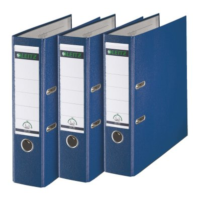 Leitz 180° A4 Plastic Lever Arch File 80mm Blue - Pack of 3 ()