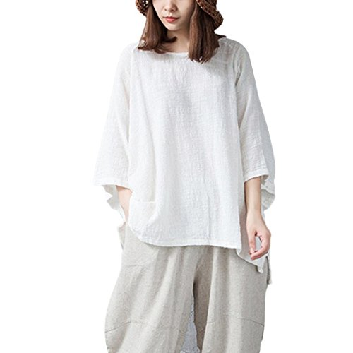 POHOK Vintage Womens Loose 3/4 Sleeve Blouse Casual Solid Color Classical Tops Shirt White