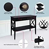 ChooChoo Console Sofa Table Classic X Design with 2 Drawers, Entryway Hall Table, Sofa Tables Narrow Easy Assembly - Black