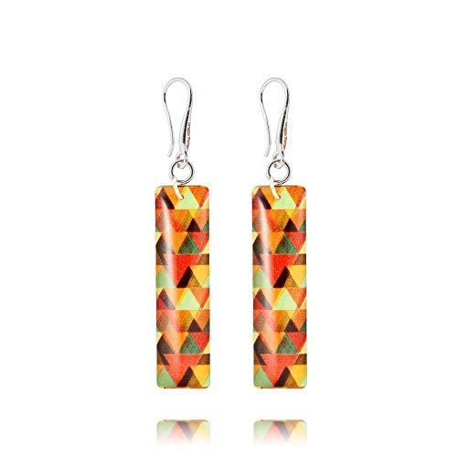 De Les D'oreilles Orange Boucles Rectangulaires Couleur Pour Longues iXwuTOPkZ