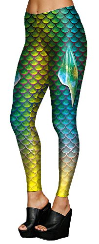 Juniors Fish Scale Print Mermaid Sports Fitness Yoga Tights Leggings Pants 02 M