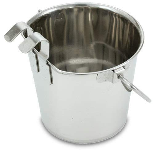 Stainless Steel Flat Pail with hooks, 2 qt, 6 pack