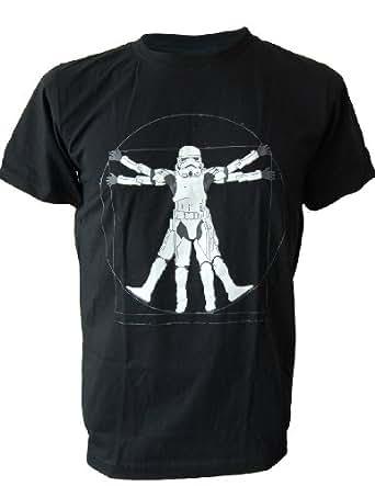 SODAtees funny Da Vinci Vitruvian Man Stormtrooper Star Wars Men's T-SHIRT - Black - X-Large