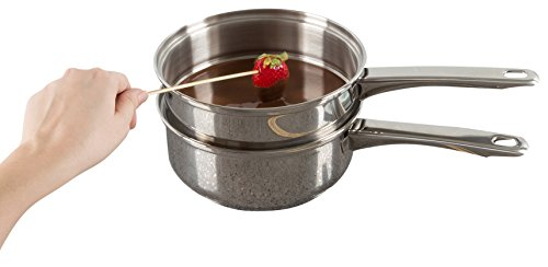 Stainless Steel 6 Cup Double Boiler - 1.5 Quart Saucepan 2-in-1 Combo with Vented Glass Lid- Kitchen Cookware with Measurements by Classic Cuisine