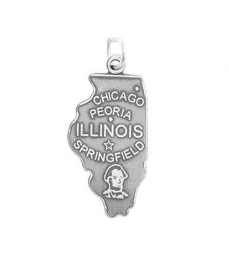 Sterling Silver State of Illinois Charm/Pendant Jewelry Making