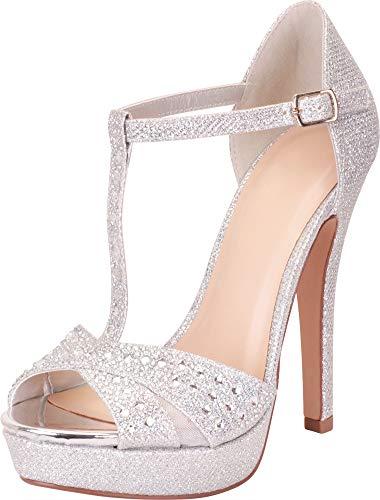 Cambridge Select Women's Open Toe T-Strap Crystal Rhinestone Platform High Heel Dress Sandal,10 B(M) US,Silver Shimmer