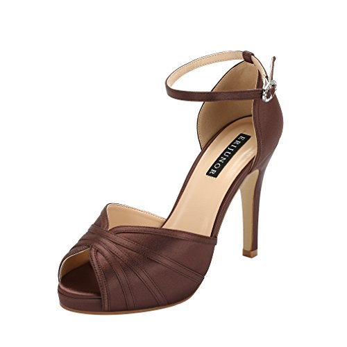 ERIJUNOR E1773 Women High Heel Sandals Ankle Strap Satin Evening Prom Party Shoes Dark Brown Size 6 ()