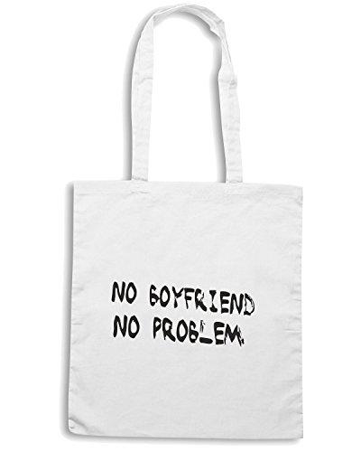 T-Shirtshock - Bolsa para la compra TDM00186 no boyfriend no problem 2 Blanco