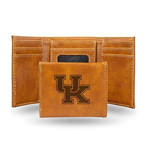 Ncaa Kentucky Wildcats Leather Football - Rico Industries NCAA Kentucky Wildcats Laser Engraved Tri-Fold Wallet, Brown