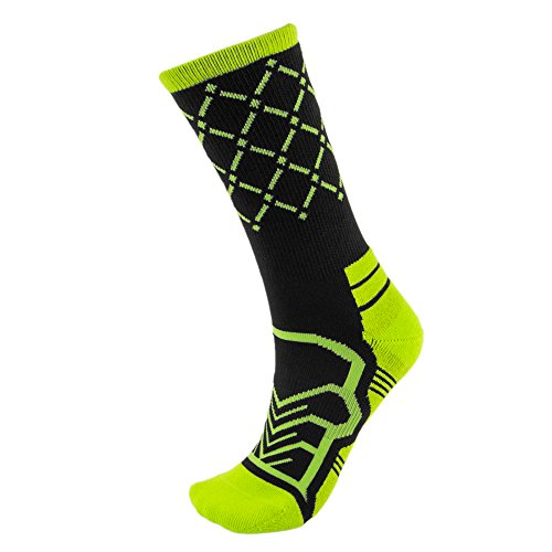 - Basketball Net Socks - Anax Advantage: Cooldry Light Compression Crew Basketball Socks by Crown Sporting Goods (Black & Green, Medium)
