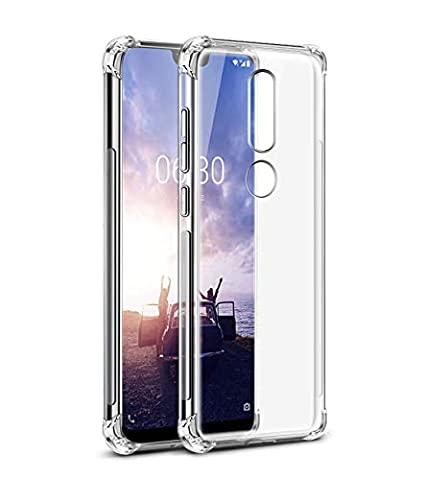 separation shoes 2f4d4 ec158 Tarkan Shock Proof Protective Soft Back Cover [Bumper Corners with Air  Cushion Technology] for Nokia 6.1 Plus (Transparent)