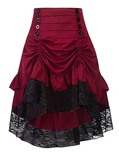 Burvogue Steampunk Skirt,Women Multi Layered High Low Outfits (Large, Wine (Spanish Lace Top)