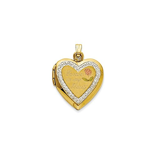 10kt Two Tone Yellow Gold Forever In My Heart Locket Pendant Charm Necklace Fashion Jewelry Gifts For Women For -