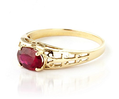 1.15 ct 14K Solid White Rose Yellow Gold Filigree Solitaire Ring with Natural Ruby 2330 (Yellow-Gold, 5.5) by Galaxy Gold (Image #1)