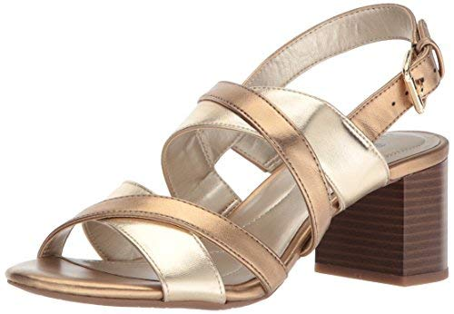 (Bandolino Women's STEPA Heeled Sandal, Soft Gold/deep Bronze, 10 M US)