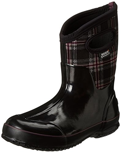 Bogs Womens Classic Winter Plaid Mid Winter Snow Boot Black Multi