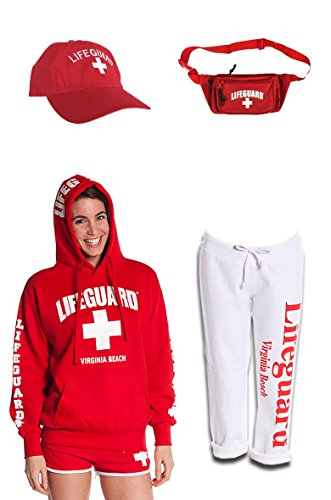 Weather Women Halloween Cold Costumes For (Ladies Cold Weather Bundle Pack Lifeguard hoodie Baseball cap Fanny pack Capri sweatpants)