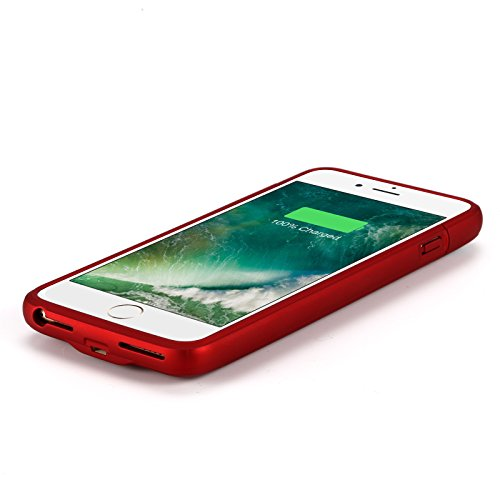 iPhone 8 Plus 7 Plus Battery event YISHDA 4200mAh handheld Charging event for iPhone 8 Plus iPhone 7 Plus 55 inch Extended Battery drink Pack Backup ability Bank event Magnet Bracket Red Battery Charger Cases