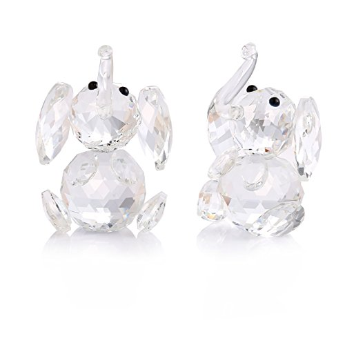 (THREE FISH Crystal 2 Pcs Super Cute Crystal Elephant Figurine,Collection Cut Glass Decorative Statue Animal Collection,Paperweight Home Decorations.(Clear) (Crystal Elephant))