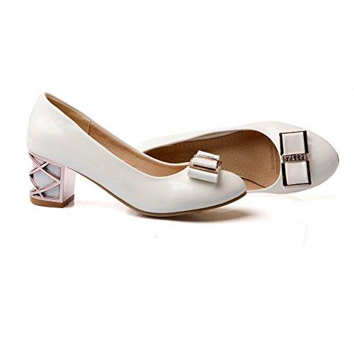 BalaMasa Womens Chunky Heels Spun Gold Bowknot Glass Diamond Imitated Leather Pumps-Shoes White cQtNO
