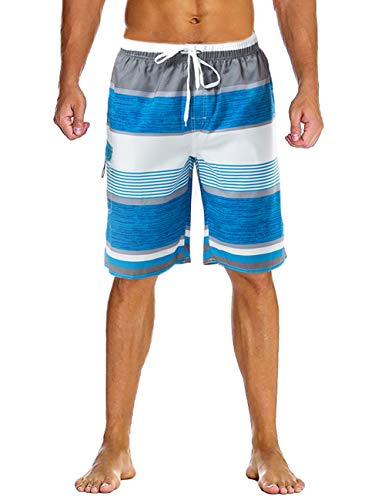Lncropo Mens Quick Dry Swim Trunks Striped Beach Board Shorts with Lining and 3 Pockets(B3-Blue+White, L)