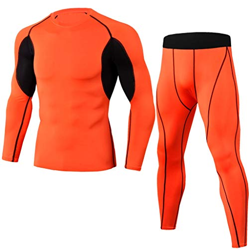 Running Tights Men,Quick Dry Summer Short Sleeve Compression Shirt and Pant,Base Layer Underwear Set by-NEWONESUN Red