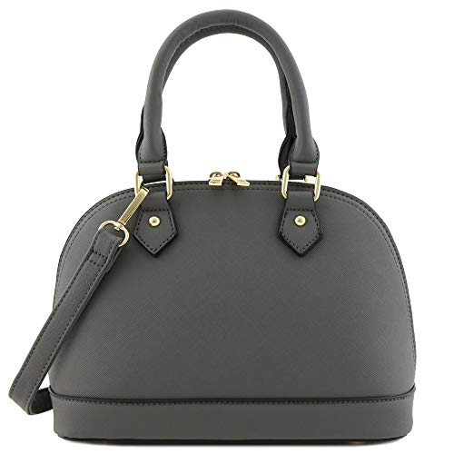 Zip-Around Classic Dome Satchel (Dark Grey)