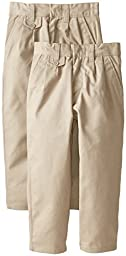 Genuine Little Girls Twill Pleated Pants with Coin Pocket (Pack of 2), Khaki,4