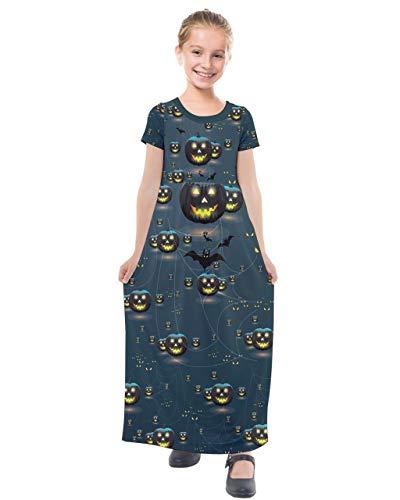 PattyCandy Girls Pumpkin Night Halloween Print Short Sleeve Maxi Dress - 12