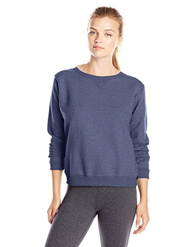 Hanes Women's V-Notch Pullover Fleece Sweatshirt, Navy Heather, Medium