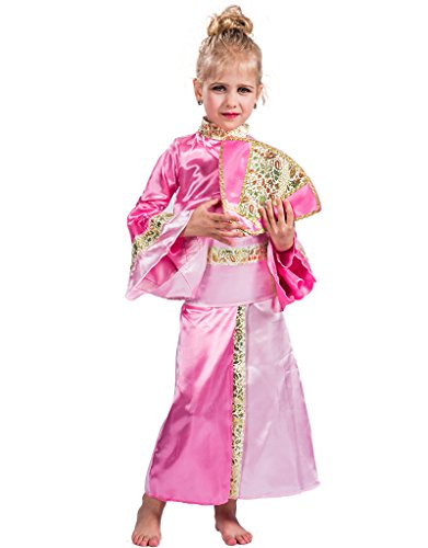 Pink Geisha Costumes (FantastCostumes Japanese Traditional Princess Pink Geisha Costume With Fan(Pink, Small))
