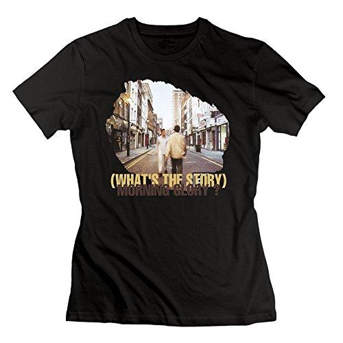 Ulongpoq Women's Oasis What's The Story Morning Glory Cotton T Shirt Black XL