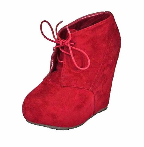 Breckelles JENNY-13 Womens Lace Up Collar Platform Wedge ankle Boots Booties Color:RED