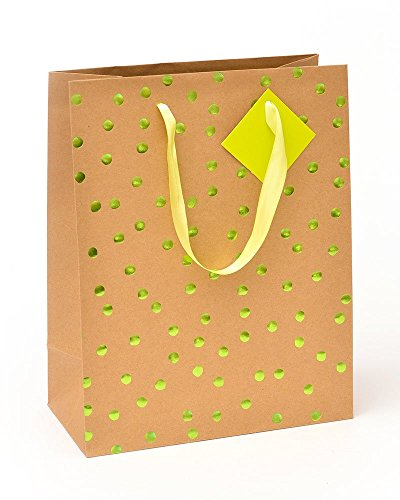 Roobee Lime Green Foil Dot Medium Gift Bag & Tag