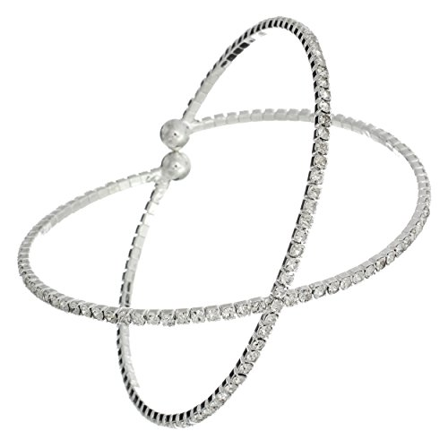Rosemarie Collections Women's Crystal Rhinestone Criss Cross Cuff Bracelet (Silver Tone)