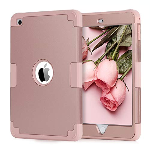 BENTOBEN iPad Mini 4 Case,iPad Mini 4 Retina Case, 3 in 1 Heavy Duty Hybrid Hard PC Soft Silicone Anti-Slip Rugged Full Body Shockproof Drop Protective Cover for Mini iPad 4th Generation Rose Gold ()