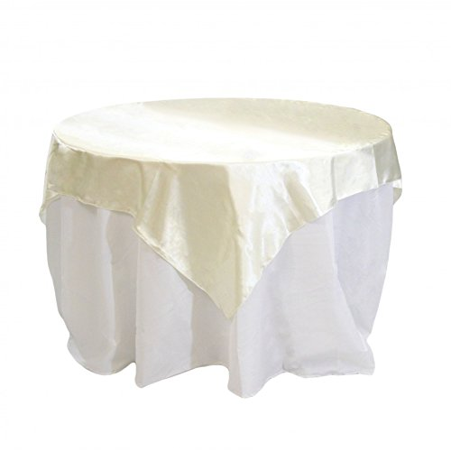 Koyal Wholesale Square Satin Overlay Table Cover, 60 by 60-Inch, Ivory