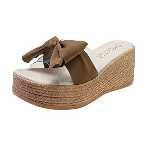 Caopixx Summer Shoes Ladies Bow Platform Waterproof Sandals Wedge Women High-Heels Slippers Khaki