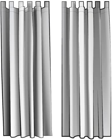 Close to Custom Linens French Country Brindle Gray Ticking Tab Top Curtain Panels 84
