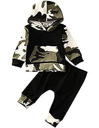 Infant Baby Los niños camuflaje sudadera con capucha Tops + Pantalones Largos trajes set ropa 0 – 3Y
