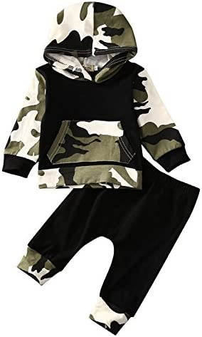 Moore Infant Baby Boys Camouflage Hoodie Tops +Long Pants Outfits Set Clothes 0-3Y