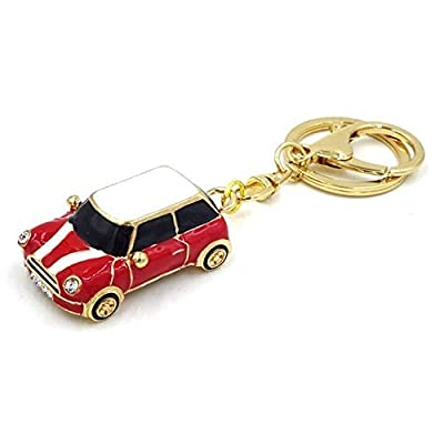 Mini Style Car Keychain Gift Rhinestone Detail Cooper Novelty (Red (Gold Trim)): Office Products