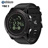 Zeblaze Vibe 3 HR Smartwatch - IP67 Waterproof Fitness Activity Tracker Rugged Military Heart Rate Sport Bluetooth Pedometer Smart Bracelet for iOS and Android (Black)