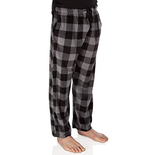 DG Hill Plaid Pajama Pants for Men, Fleece Lounge Pants Men with Pockets and Drawstring