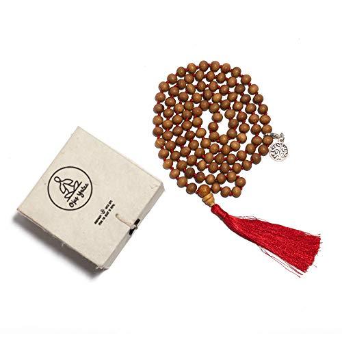 Ojas Yatra Premium Handmade Sandalwood 108 Mala Beads Necklace - Comes with Tibetan Charm, Cotton Bag & Gift Box - Buddha/Tassel/Bracelet/Japa Mala/Meditation/Yoga/Spiritual/Hand Knotted Necklace ()