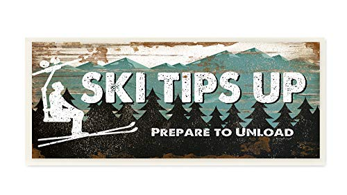 The Stupell Home Decor Blue and White Ski Tips Up Prepare to Unload Rustic Wood Look Lift Sign Wall Plaque Art, 7X17, Multi-Color ()