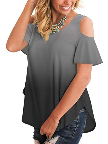 (Short Sleeve Shirts Women Round Neck Loose Blouse Cold Shoulder Holiday Tops Gray L)