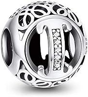NINGAN Charm-Anhänger, 925 Sterlingsilber, Motiv: Buchstabe des Alphabets, für Pandora-Armbänder, kompatibel mit...