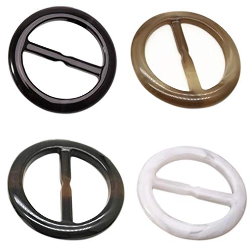 Plastic Round Shape Fashion Scarf Clip Ring - 4pcs T-Shirt Clip Scarves Buckle Clothing Ring Wrap -