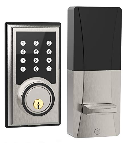 TURBOLOCK TL-201 Electronic Keypad Deadbolt Keyless Entry Door Lock w/Code Disguise, 21 Programmable Codes, 1-Touch Locking + 3 Backup Keys, Brush Nickel